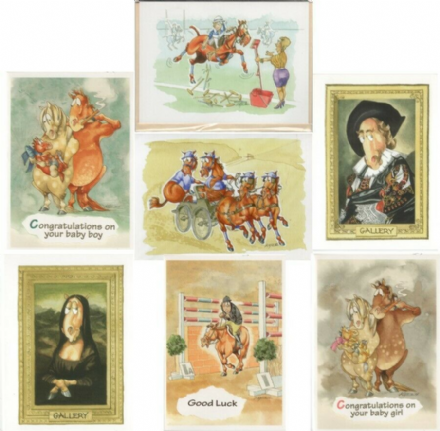Comedy Equine Cards by Kates Art Set of Seven Different Design Blank Card